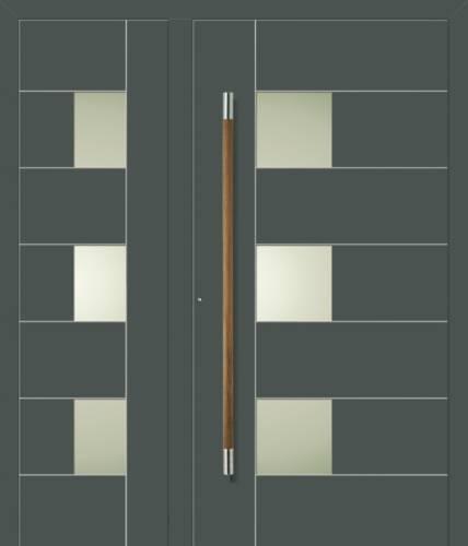 Dobbelt facadedør med grebløsning til fingeraftryk el. bluetooth